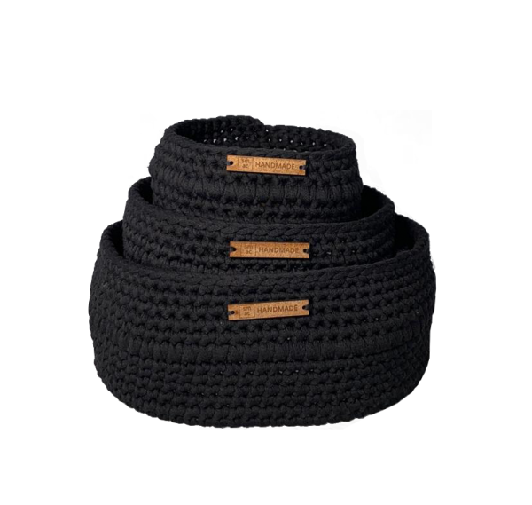 Crochet Baskets Black Set of 3