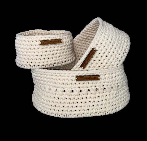 Crochet Baskets Cream Set of 3