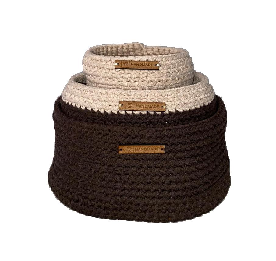 Crochet Baskets Beige & Brown Set of 3