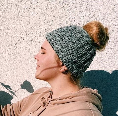Crochet Messy bun beanies