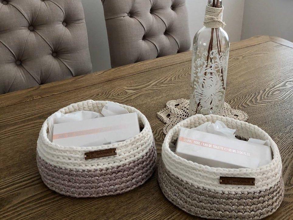 Crochet Baskets in use