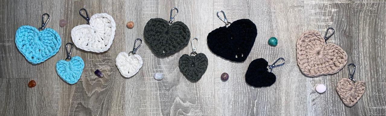 Crochet Heart Keyrings
