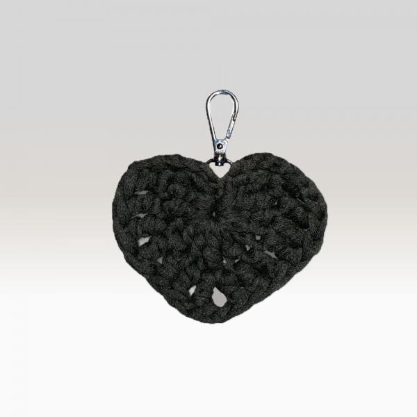 Crochet Keyring Black Heart Large