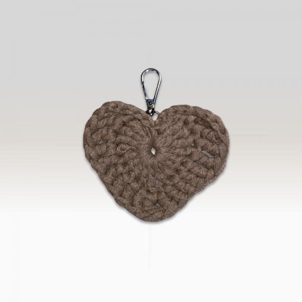 Crochet Keyring Brown Heart Large