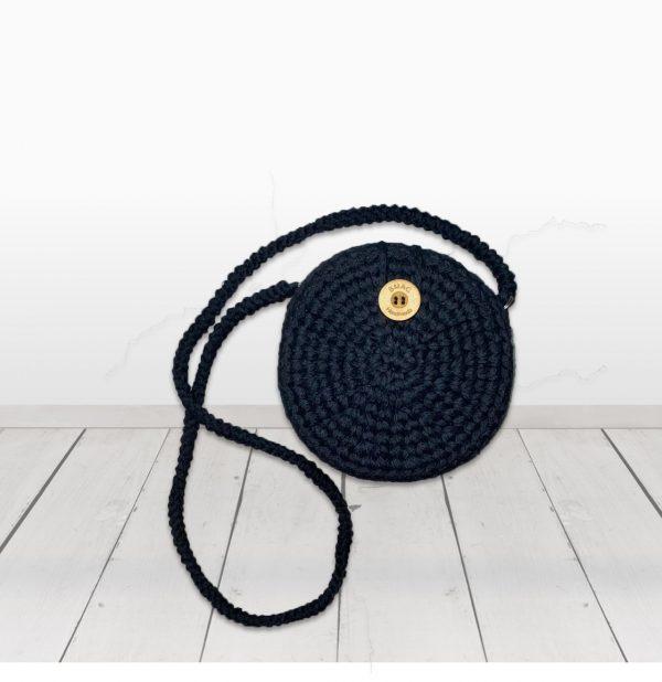 crochet bag round black