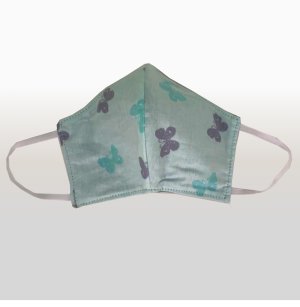 Mint with Grey Butterfly Face Mask