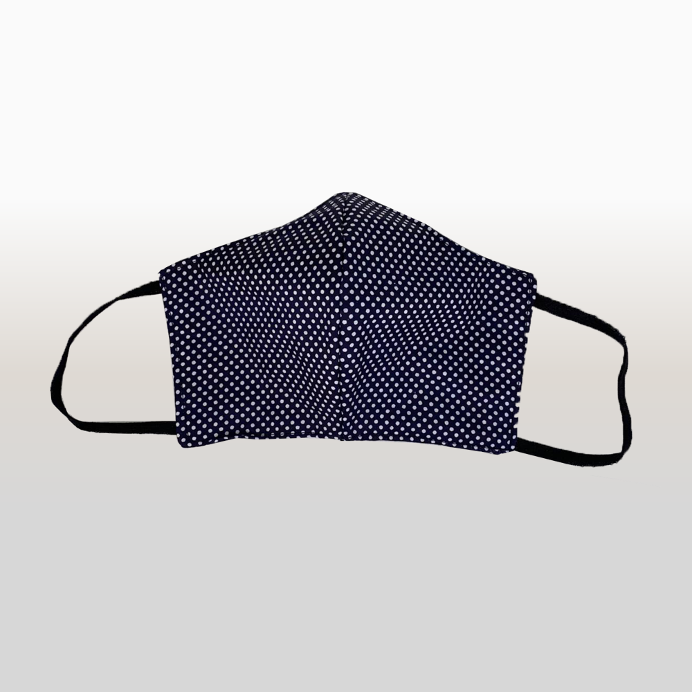 Navy with white polka dots Face Mask