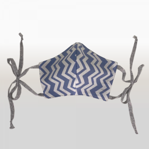 Blue Zig Zag 100% Cotton Face Masks (Large)