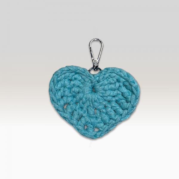 Crochet Keyring Aqua Heart Large